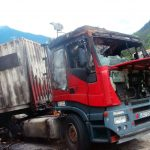 Imagen del camión tras el incendio en Bielsa